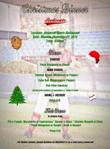 REDCOATS CHRISTMAS DINNER @ Universal Sports Restaurant